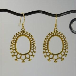 Handmade Brass Honeycomb Dangle Earrings by Spirit (Indonesia)