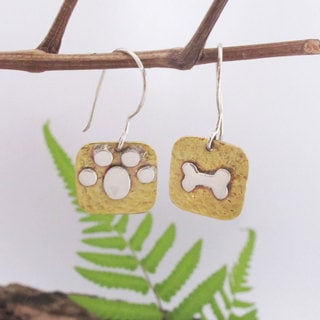 Handmade 'Give a Dog a Bone' Brass Earrings (Indonesia)