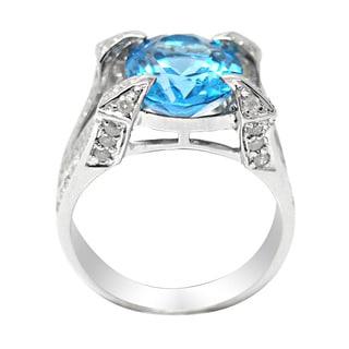 De Buman 14k White Gold Genuine Blue Topaz and 1/3ct TDW Diamond Ring (H-I, I1-I2)