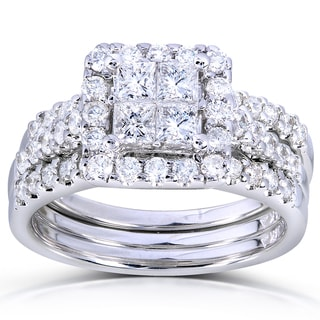 Annello 14k White Gold 1 7/8ct TDW Princess Quad Diamond 3-Ring Bridal Set (H-I, I1-I2)