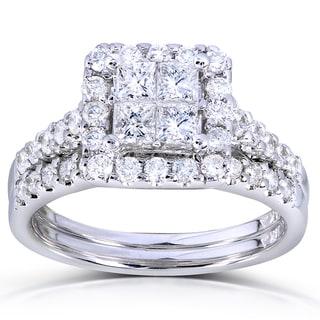 Annello 14k White Gold 1 5/8ct TDW Princess Quad Diamond 2-ring Bridal Set (H-I, I1-I2) with Bonus Item