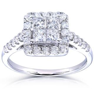 Annello 14k White Gold 1 3/8ct TDW Princess Quad Halo Diamond Engagement Ring (H-I, I1-I2)