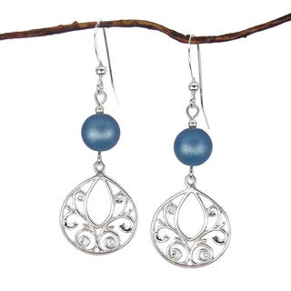 Jewelry by Dawn Sterling Silver Filigree Teardrop and Blue Matte Glass Bead Dangle Earrings