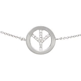 Diamonds For A Cure 14k White Gold Peace Sign Bracelet