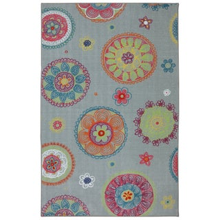 Kids Medallion Gray Nylon Rug (8' x 10')