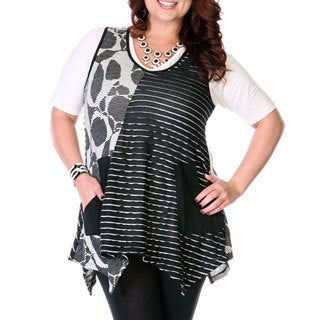 Women's Plus Size Multi-print Panel Spliced Tank
