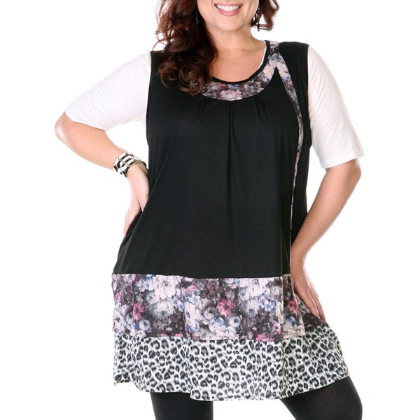 Firmiana Women's Plus Size Leopard and Floral Mixed Print Spliced Top