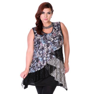 Women's Plus Size Layer Laced Spliced Tunic
