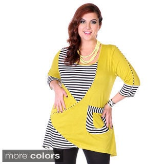 Women's Plus Stripe Trim Tunic Top