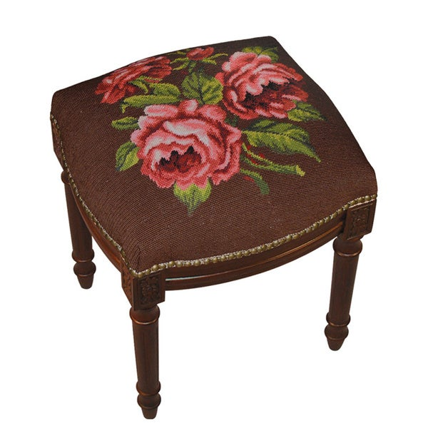 Rose on Brown Background Needlepoint Stool