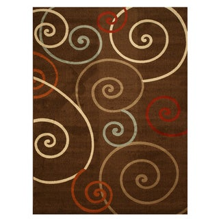EORC Brown Contemporary Scrolls Rug (7'10 x 10'6)