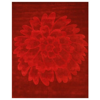 Hand-tufted Wool Red Evelyn Rug (7'9 x 9'9)