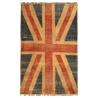 Hand-knotted Wool Union Jack British Flag Rug (5' x 8')