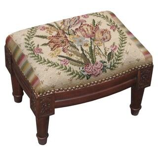 Beige Needlepoint Tulip Footstool