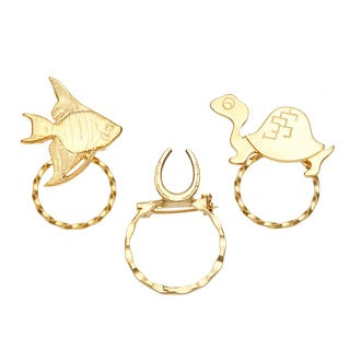SPEC Goldtone Turtle/ Fish and Horseshoe Assorted 3-piece Spectacle Brooch Set