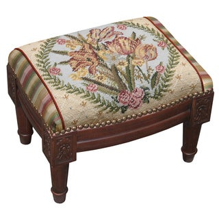Classic Tulip Needlepoint Footstool