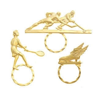 SPEC Goldtone Sports Themed 3-piece Spectacle Brooch Set