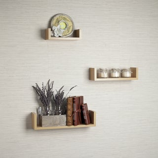 Laminated Beech Veneer Floating 'U' Shelves (Set of 3)