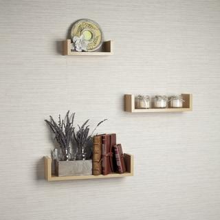 Laminated Beech Veneer Floating 'U' Shelves (Set of 3)