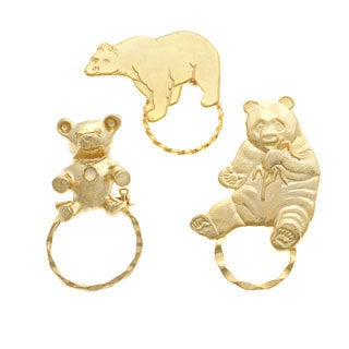 SPEC Goldtone Assorted Bear 3-piece Spectacle Brooch Set