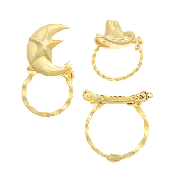 Detti Originals SPEC Moon/ Hat and Canoe 3-piece Spectacle Brooch Set