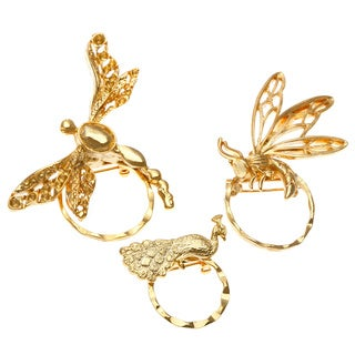 SPEC Goldtone Flying Creatures 3-piece Spectacle Brooch Set