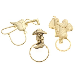 SPEC Goldtone 3-piece Western Motif Spectacle Brooch Set