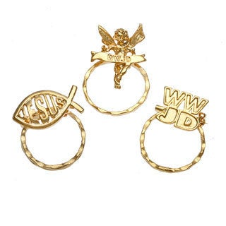SPEC Goldtone Religious 3-piece Spectacle Brooch Set