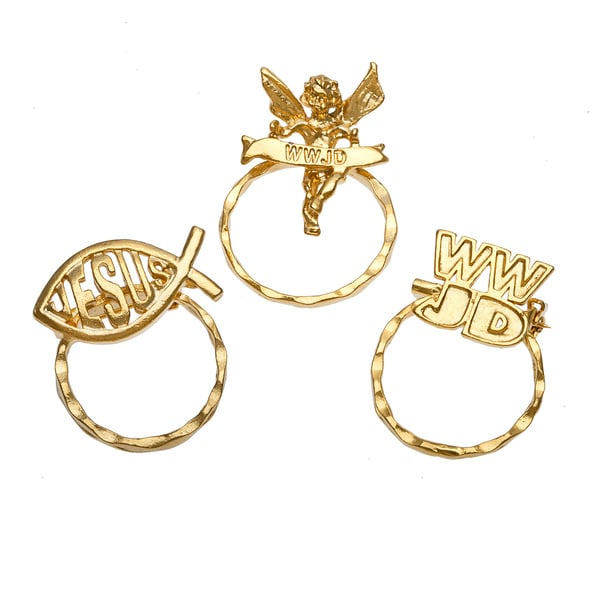 Detti Originals SPEC WWJD Symbol/ Jesus Fish and WWJD Angel 3-piece Spectacle Brooch Set