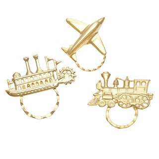 Set of 3 Goldplated Travel-themed Spectacle Pins