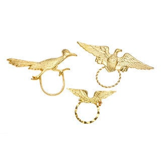 SPEC Goldtone Eagle/ Roadrunner and Wings 3-piece Spectacle Brooch Set
