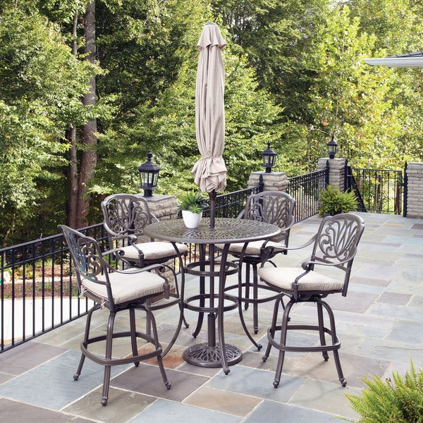 Floral Blossom Taupe 5-piece Bistro Set