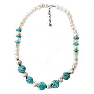De Buman Freshwater Pearl and Turquoise Necklace (9-10 mm)