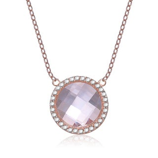 Collette Z Rose-plated Sterling Silver Morganite Cubic Zirconia Necklace