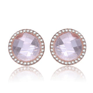 Collette Z Rose-plated Sterling Silver Morganite and Cubic Zirconia Earrings