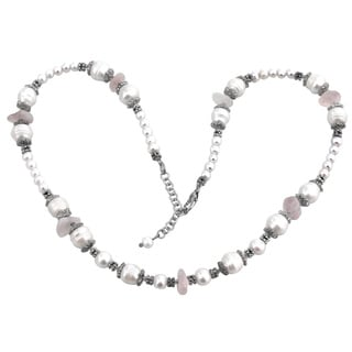 De Buman Freshwater Pearl and Rose Quartz Necklace (7-10 mm)