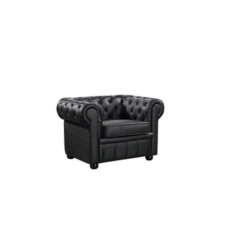 Hancock Tufted Black Italian Chesterfield Leather Sofa