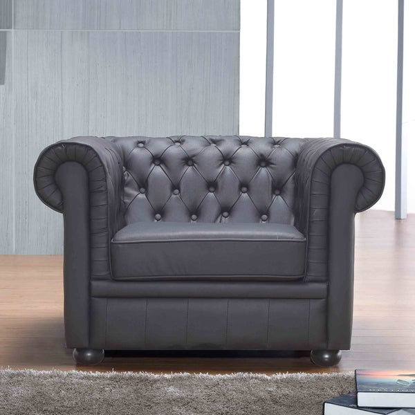 Chesterfield Black Genuine Leather Quilted Armchair