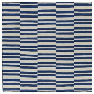 Flatweave TriBeCa Blue Stripes Wool Rug (8' Square)
