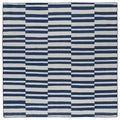 Flatweave TriBeCa Blue Stripes Wool Rug (8' Square)