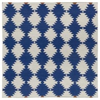 Flatweave TriBeCa Flat-weave Blue Wordly Wool Rug (8' Square)