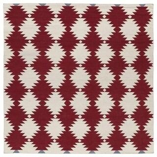 Flatweave TriBeCa Red Wordly Wool Rug (8' Square)