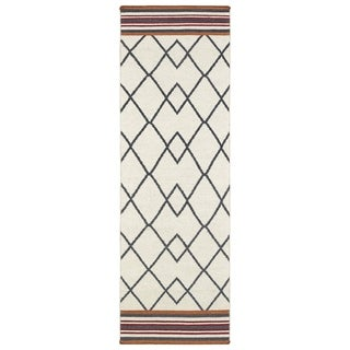 Flatweave TriBeCa Ziggy Grey Wool Rug (2'6 x 8')