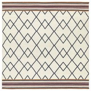 Flatweave TriBeCa Ziggy Grey Wool Rug (8' Square)