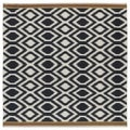 Flatweave TriBeCa Black Geo Wool Rug (8' Square)