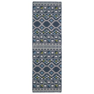 Flatweave TriBeCa Blue Wool Rug (2'6 x 8')