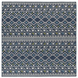 Flatweave TriBeCa Blue Wool Rug (8' Square)