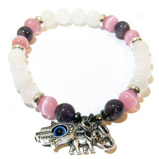Protected Love Rose Quartz and Amethyst Bracelet