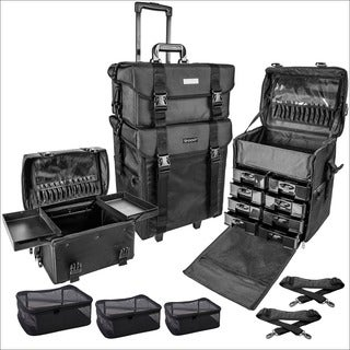Shany 28-inch Soft Black Rolling Trolley Makeup Case