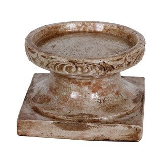 Large Distressed Ceramic Candle Holder